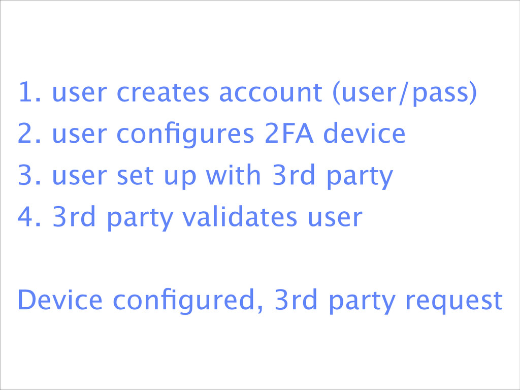 1. user creates account (user/pass) 2. user co...