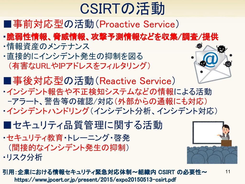 CSIRTの活動 11 ■事前対応型の活動(Proactive Service) ・脆弱性情報...