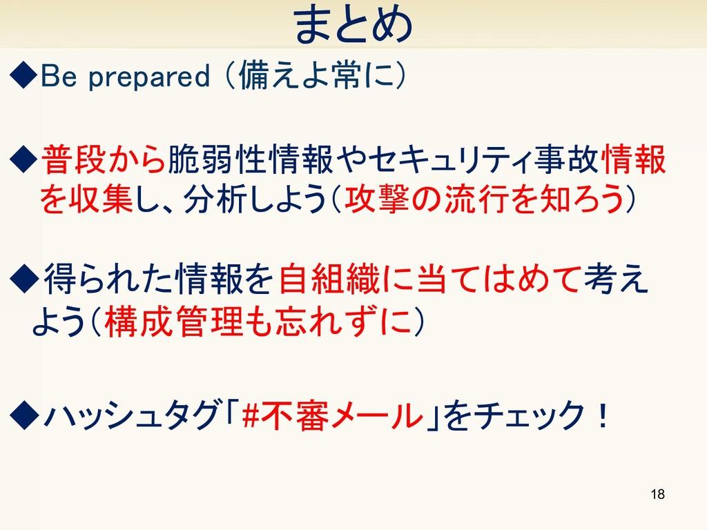 18 ◆得られた情報を自組織に当てはめて考え  よう(構成管理も忘れずに) まとめ ◆普段から...