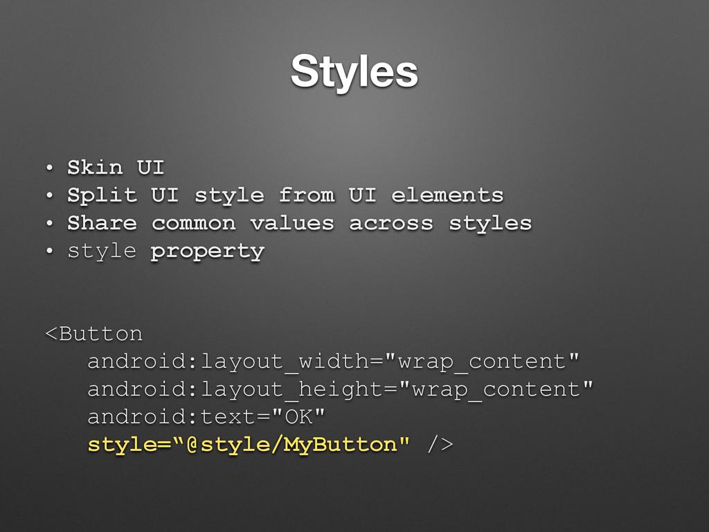 Styles • Skin UI • Split UI style from UI eleme...