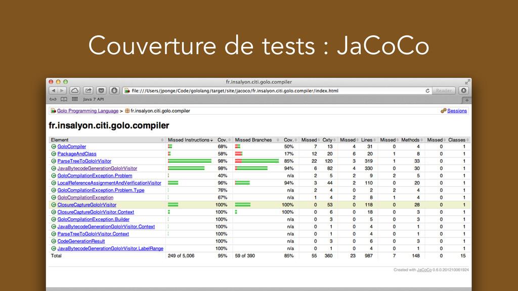 Couverture de tests : JaCoCo