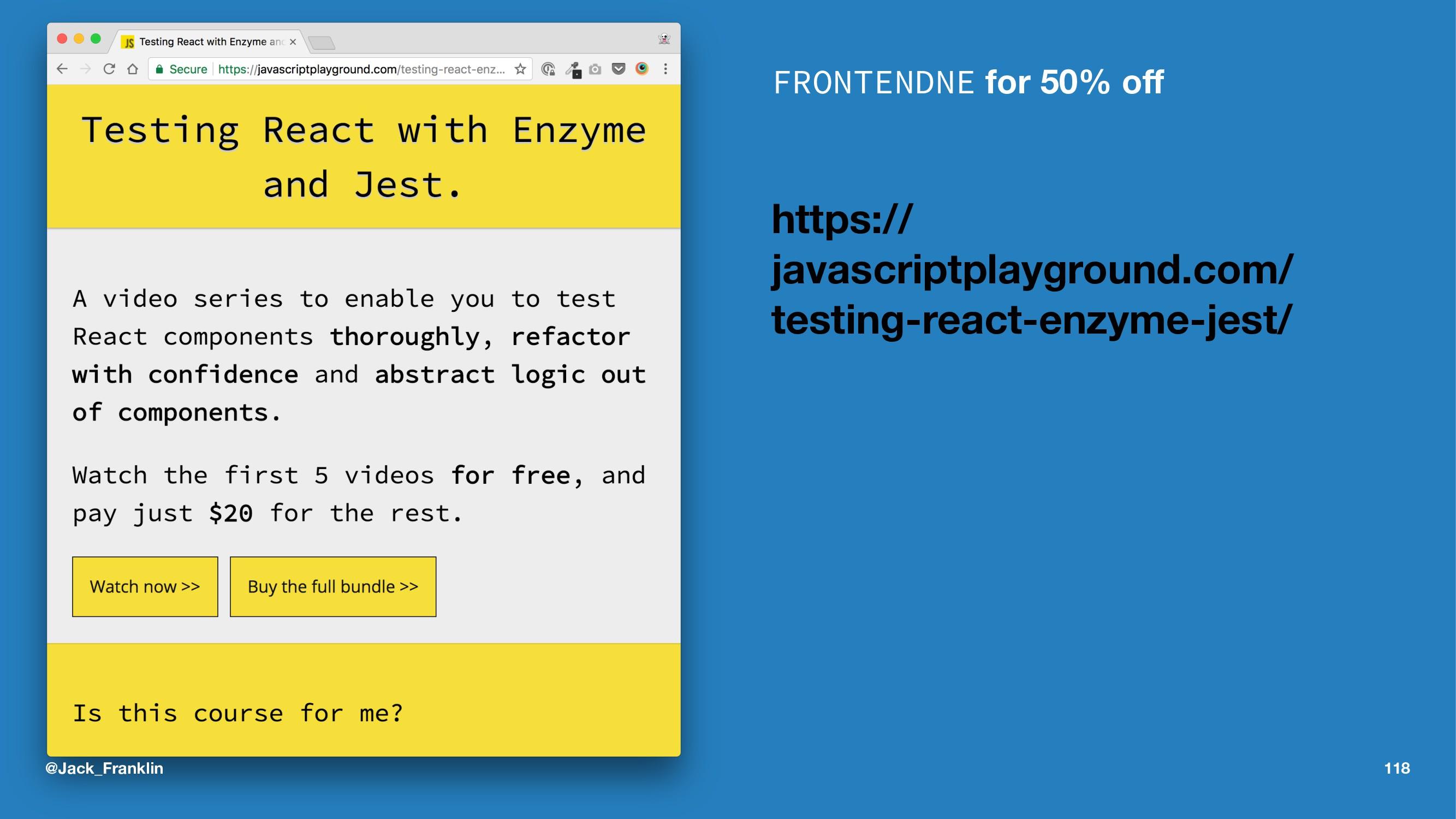 FRONTENDNE for 50% off https:// javascriptplaygr...