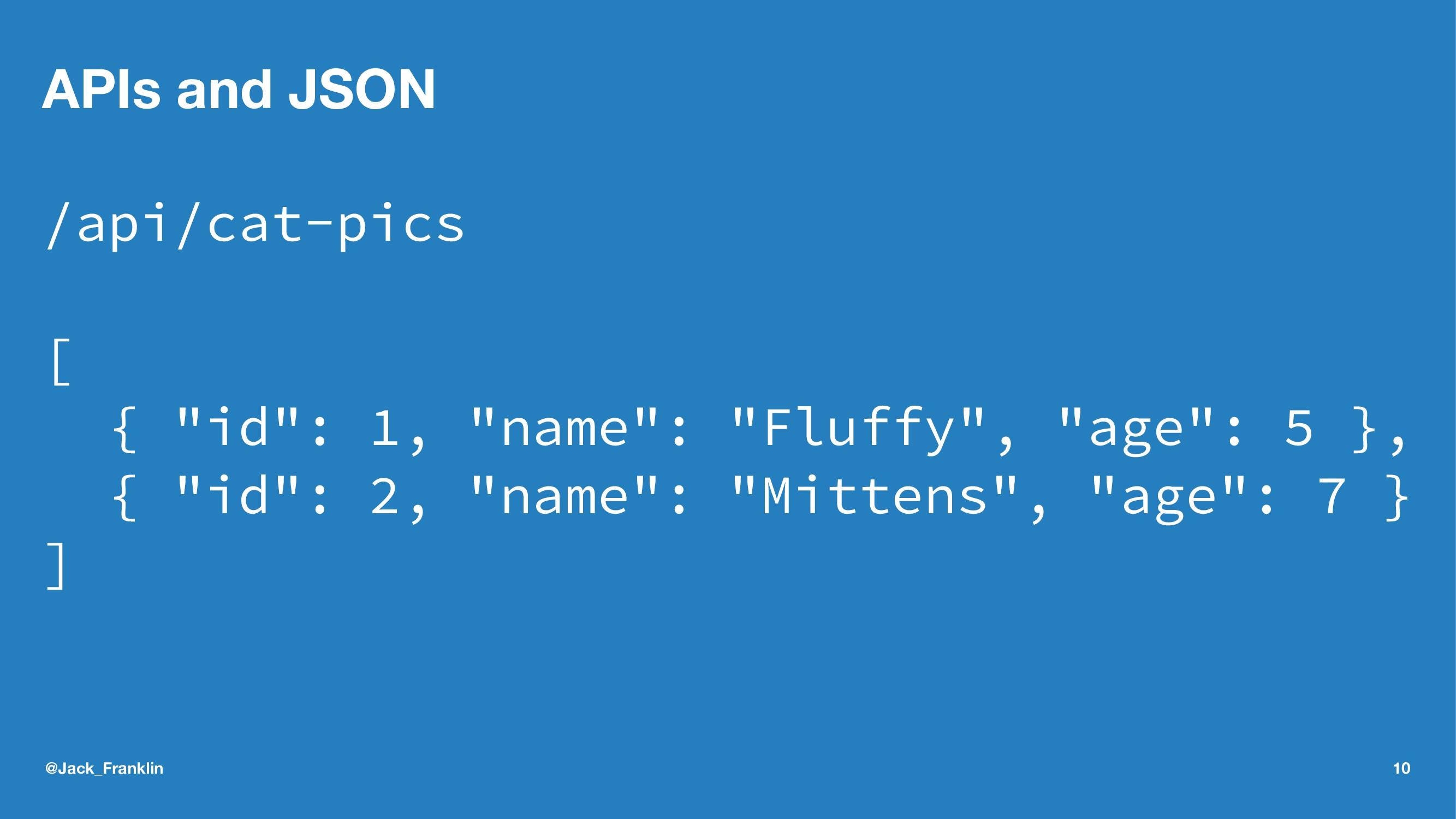 "APIs and JSON /api/cat-pics [ { ""id"": 1, ""name""..."