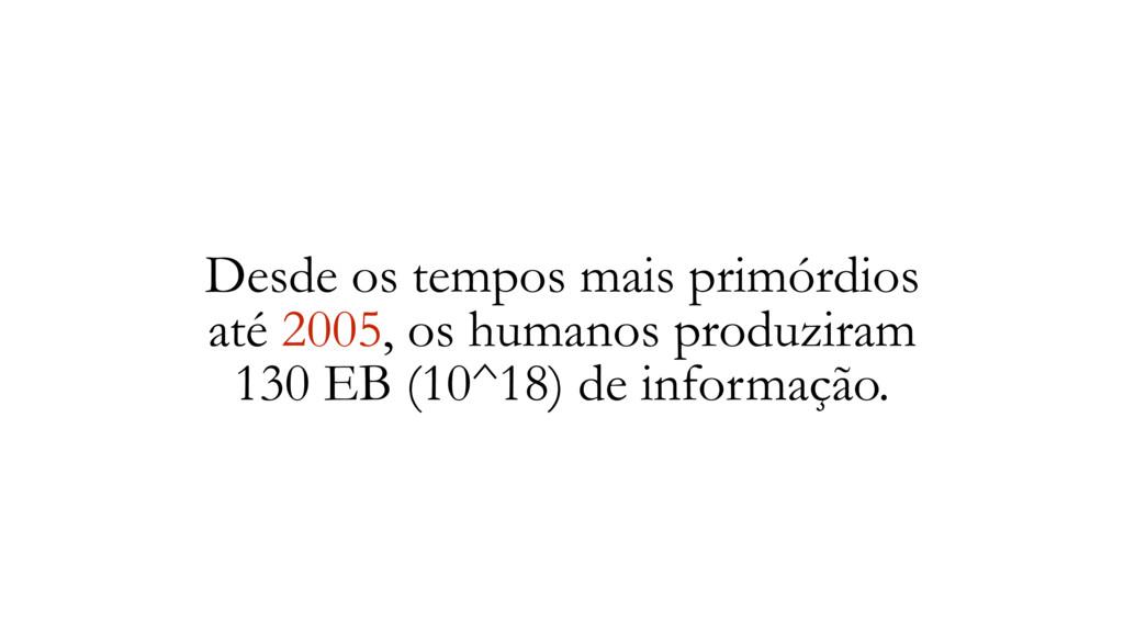 Desde os tempos mais primórdios até 2005, os hu...