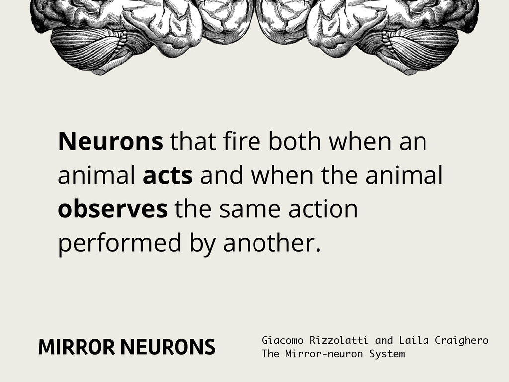 MIRROR NEURONS Neurons that fire both when an an...