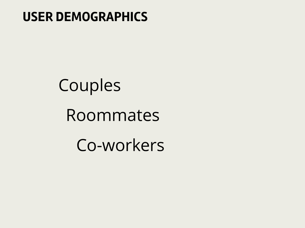 Couples Roommates Co-workers USER DEMOGRAPHICS