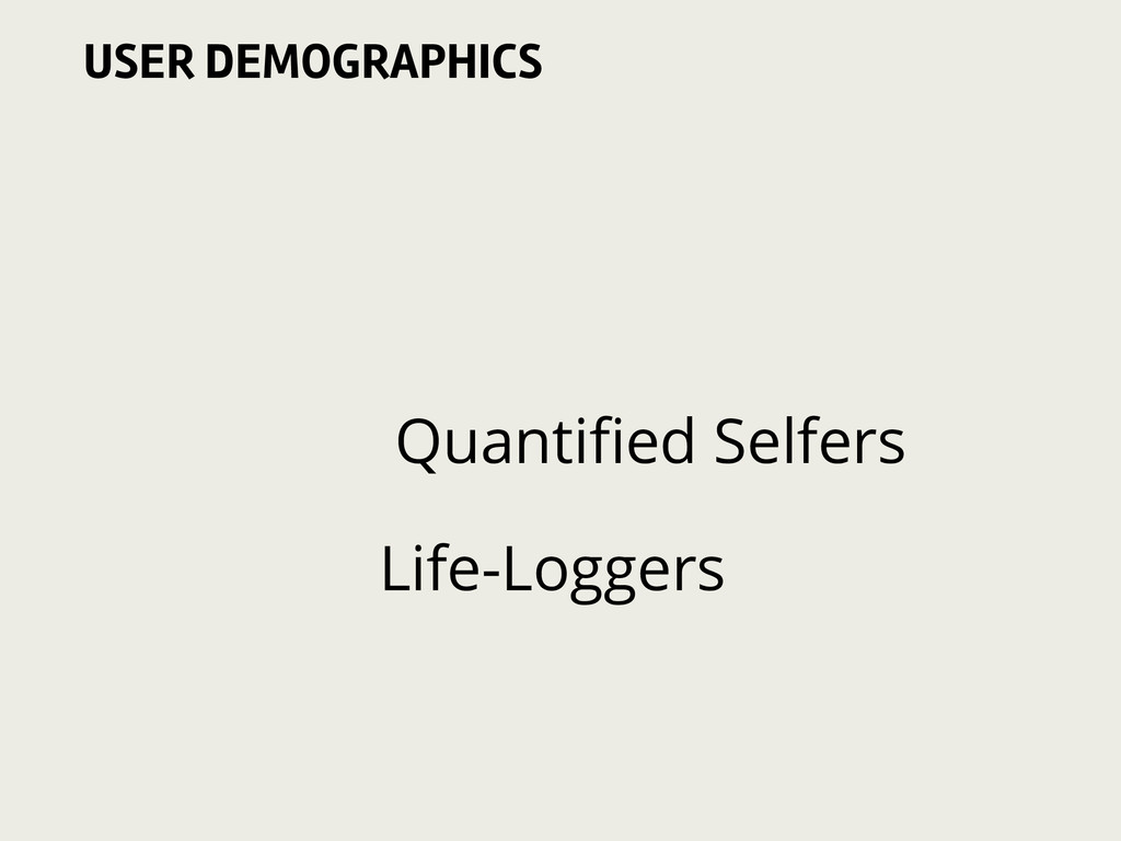 Quantified Selfers Life-Loggers USER DEMOGRAPHICS