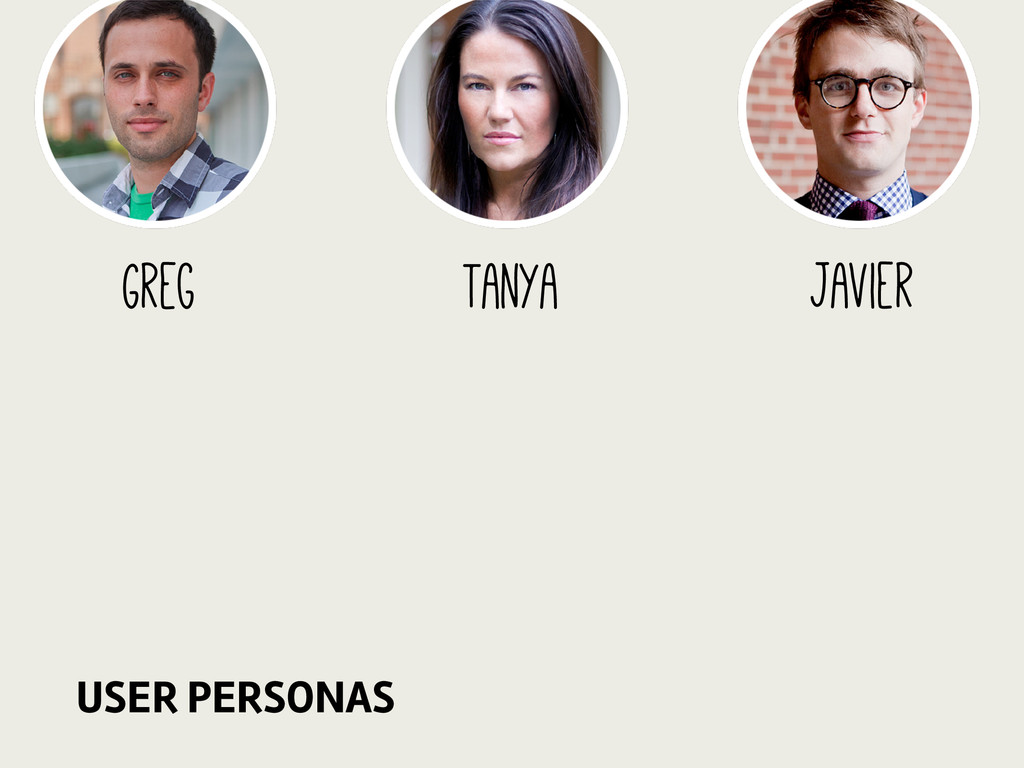 Javier Greg Tanya USER PERSONAS