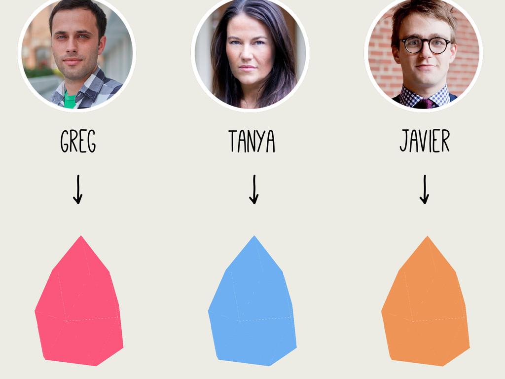 Greg ↓ Tanya ↓ Javier ↓