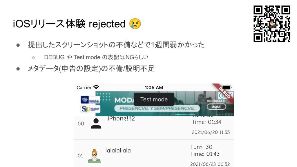 iOSリリース体験 rejected 😢 ● 提出したスクリーンショットの不備などで1週間弱か...