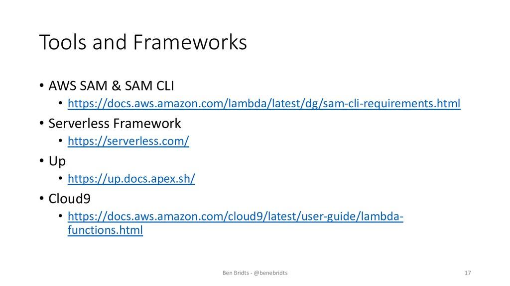Tools and Frameworks • AWS SAM & SAM CLI • http...