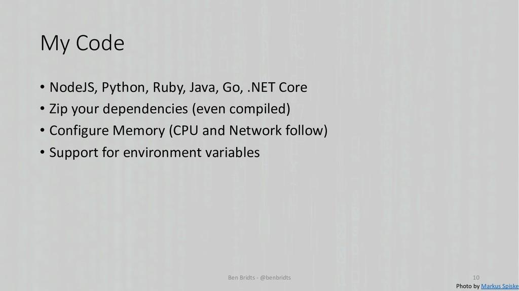 My Code • NodeJS, Python, Ruby, Java, Go, .NET ...