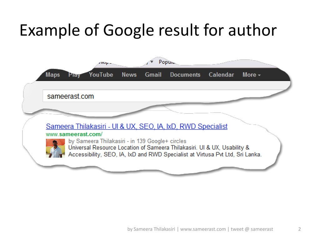 Example of Google result for author 2 by Sameer...