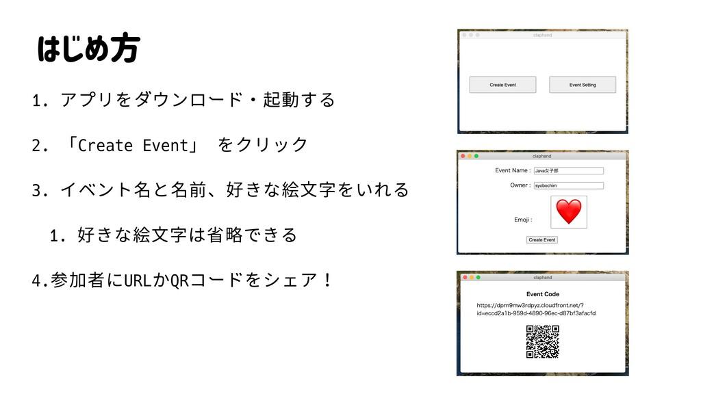 はじめ方 1. アプリをダウンロード・起動する 2. 「Create Event」 をクリック...