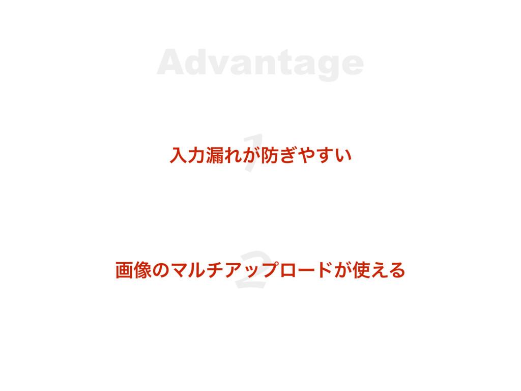 Advantage 1 ೖྗ࿙Ε͕͍͗͢ 2 ը૾ͷϚϧνΞοϓϩʔυ͕͑Δ