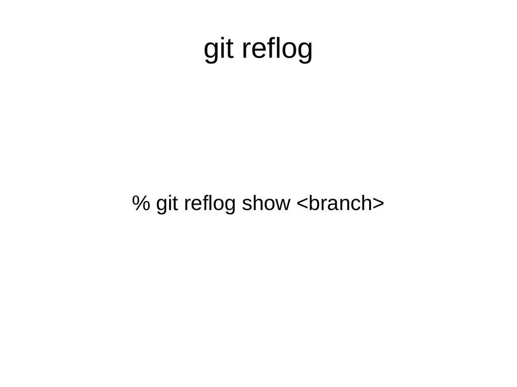 git reflog % git reflog show <branch>