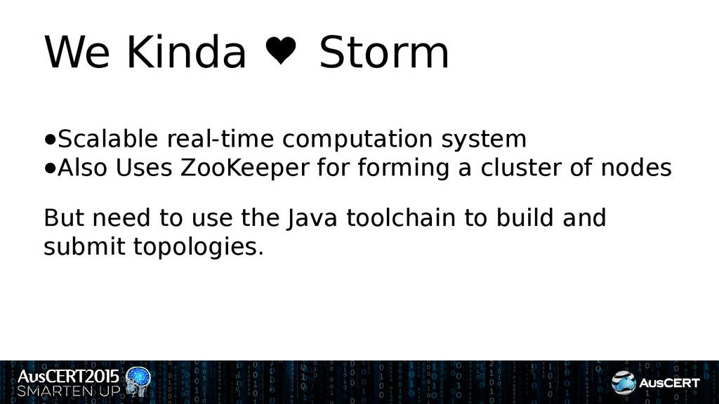 We Kinda Storm ●Scalable real-time computation ...