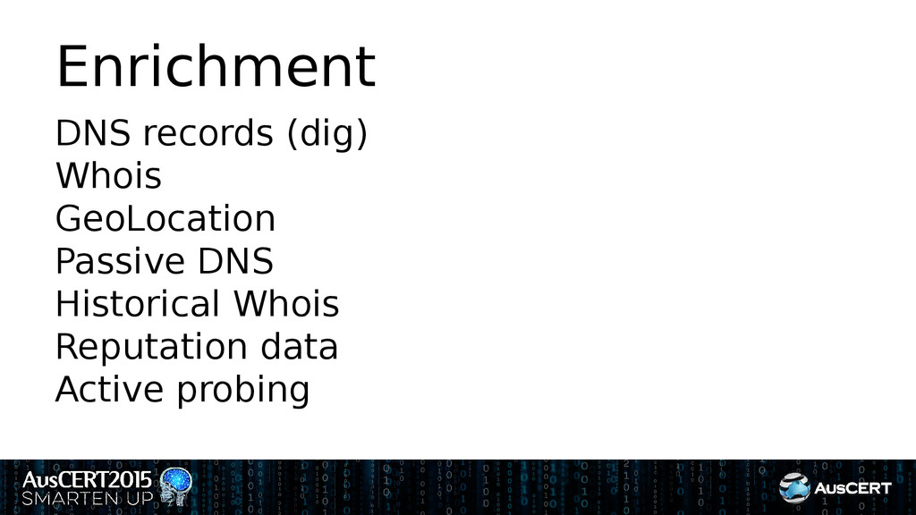 Enrichment DNS records (dig) Whois GeoLocation ...