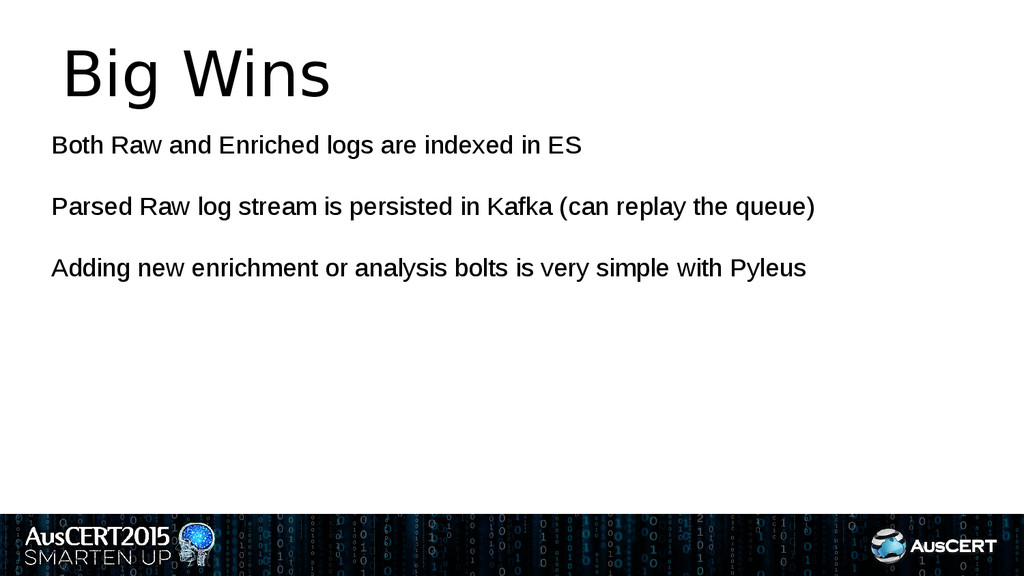 Big Wins Both Raw and Enriched logs are indexed...
