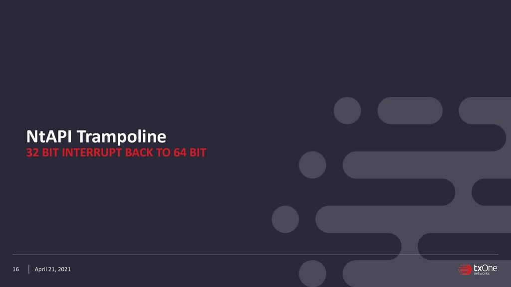 April 21, 2021 NtAPI Trampoline 16 32 BIT INTER...