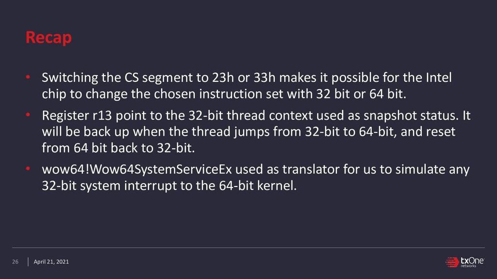 April 21, 2021 Recap • Switching the CS segment...
