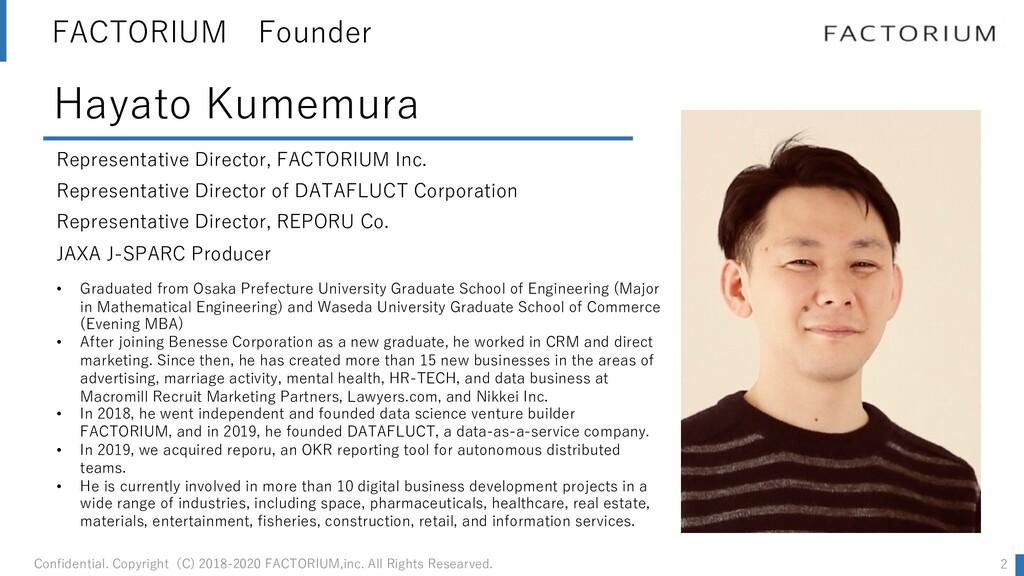 FACTORIUM Founder Representative Director, FACT...