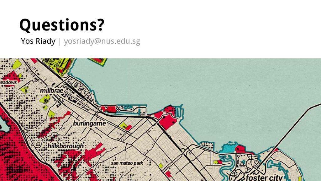 Questions? Yos Riady | yosriady@nus.edu.sg