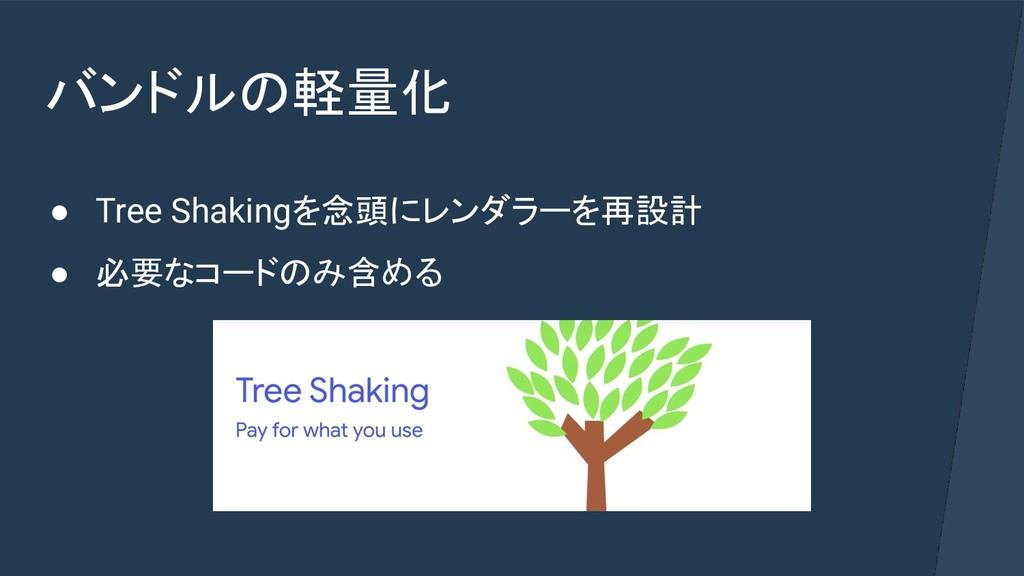 バンドルの軽量化 ● Tree Shakingを念頭にレンダラーを再設計 ● 必要なコードのみ...