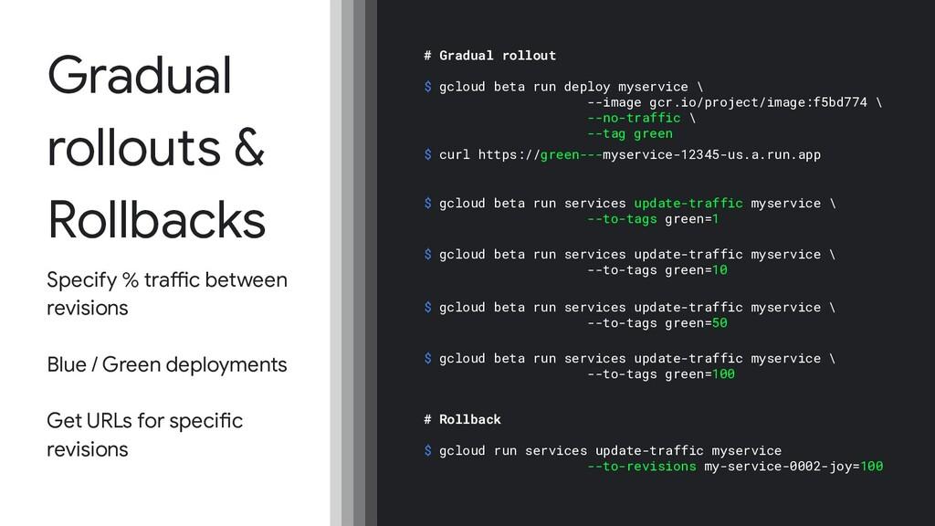 Gradual rollouts & Rollbacks Specify % traffic ...