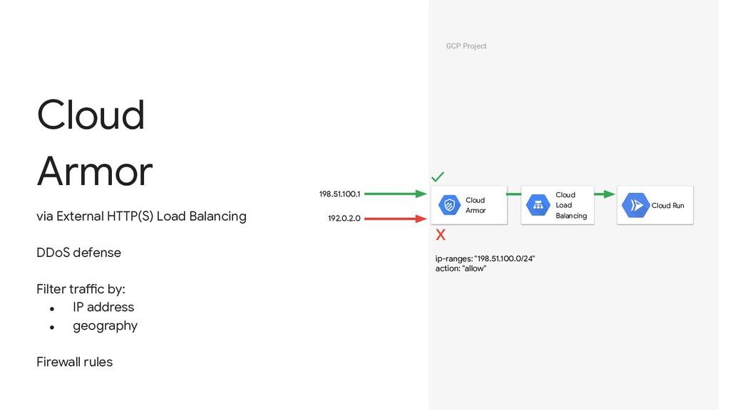 Cloud Armor via External HTTP(S) Load Balancing...