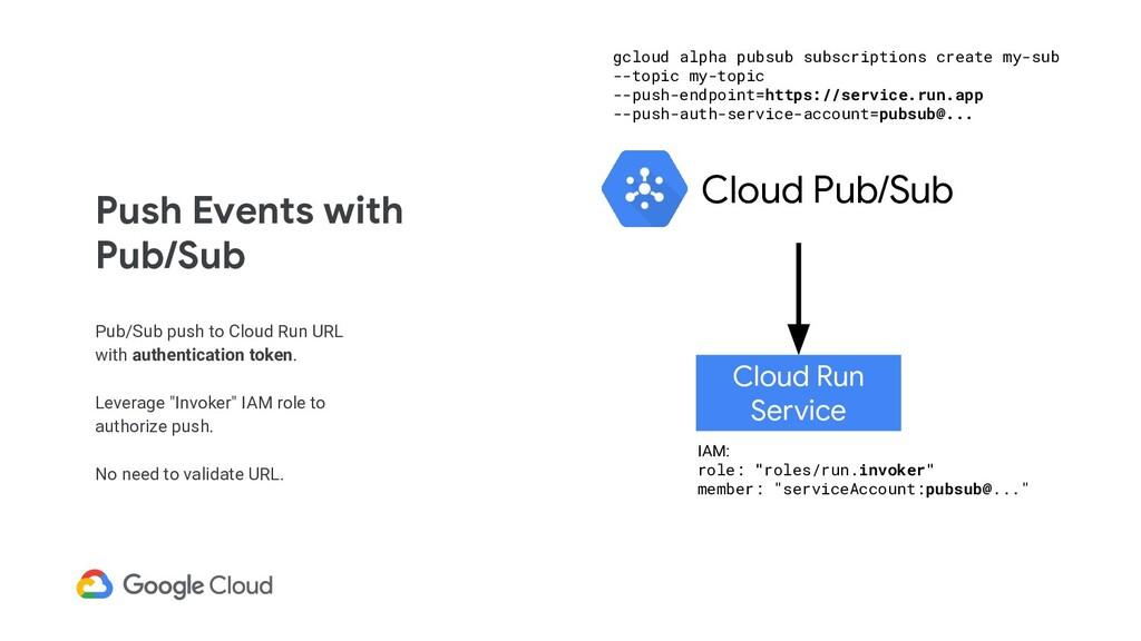 Push Events with Pub/Sub Pub/Sub push to Cloud ...
