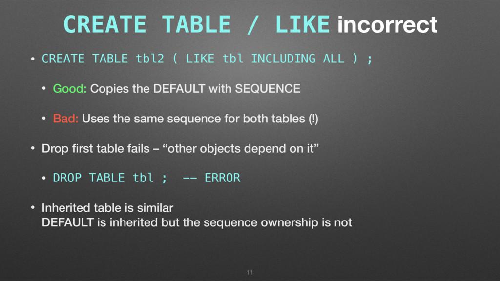 CREATE TABLE / LIKE incorrect • CREATE TABLE tb...