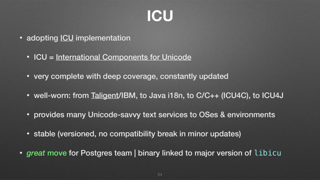 ICU • adopting ICU implementation • ICU = Inter...