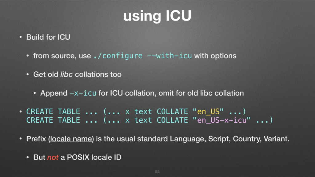 using ICU • Build for ICU • from source, use ./...