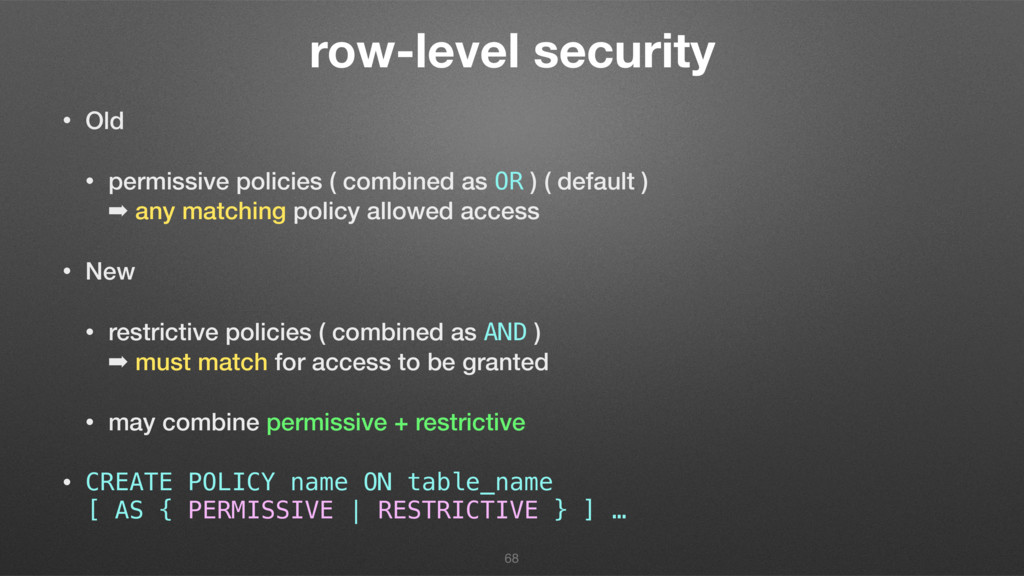 row-level security • Old • permissive policies ...