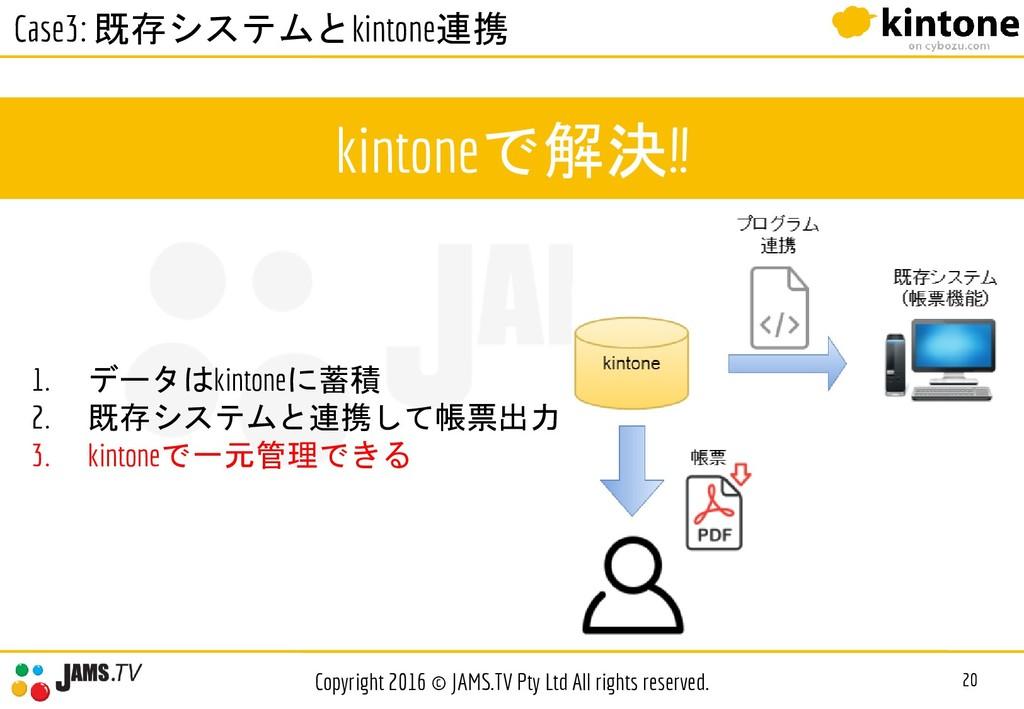 kintoneで解決!! 20 Copyright 2016 © JAMS.TV Pty Lt...