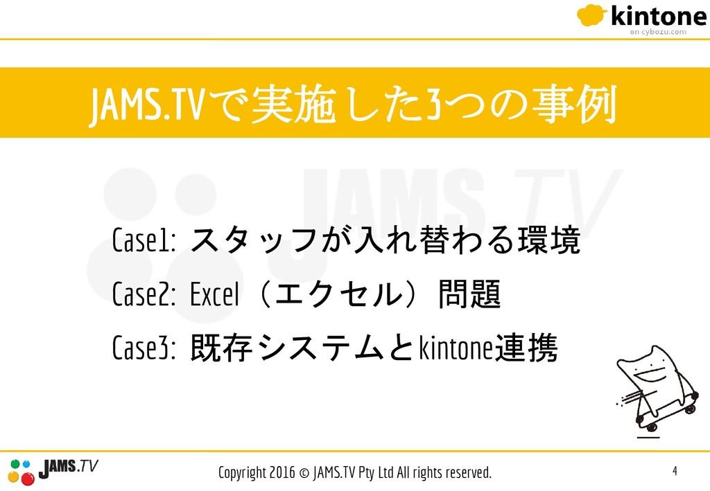 JAMS.TVで実施した3つの事例 Case1: スタッフが入れ替わる環境 Case2: Ex...