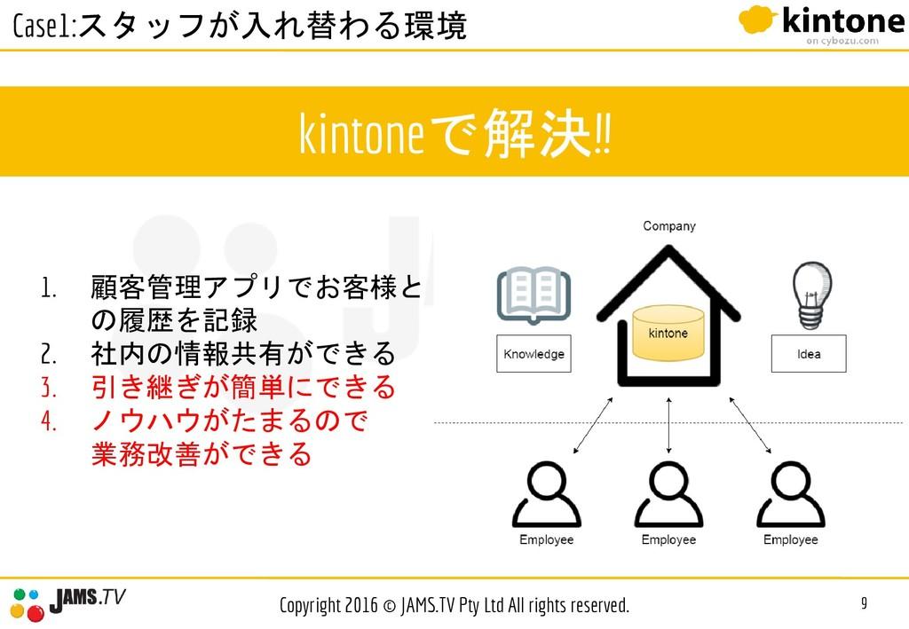 kintoneで解決!! 9 Copyright 2016 © JAMS.TV Pty Ltd...