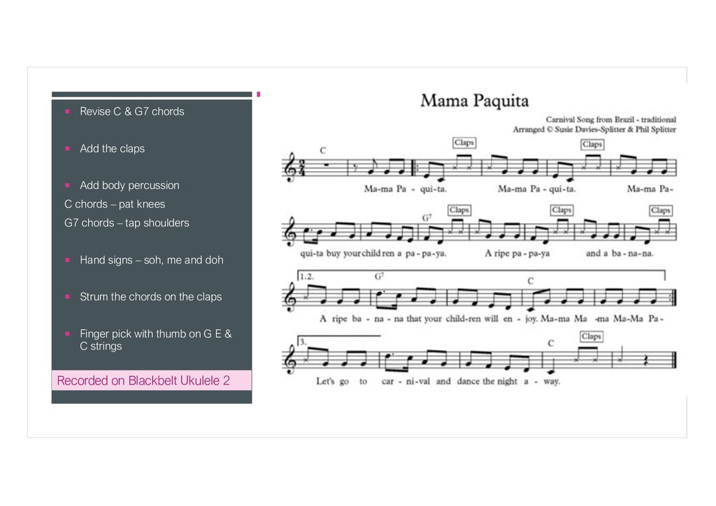 ¡ Revise C & G7 chords ¡ Add the claps ¡ Add bo...