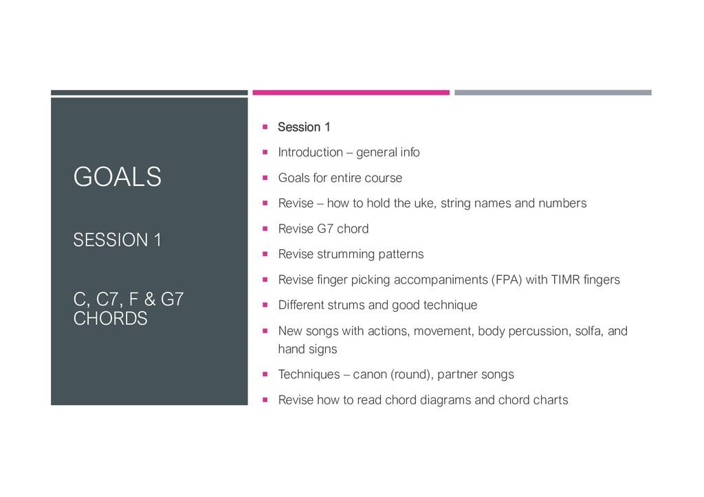 GOALS SESSION 1 C, C7, F & G7 CHORDS ¡ Session ...