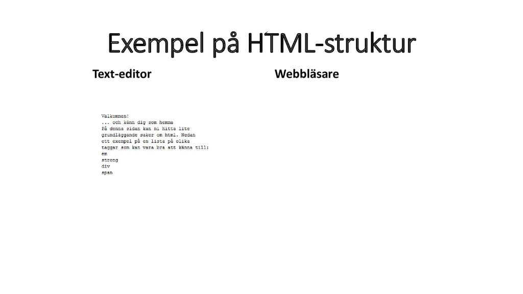 Exempel på HTML-struktur Text-editor Webbläsare
