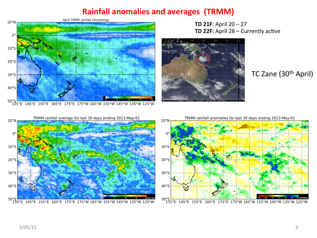 Rainfall anomalies and averages  ...
