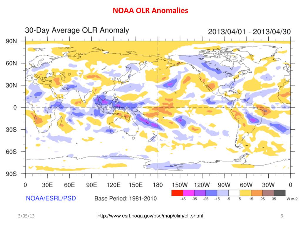NOAA OLR Anomalies  3/05/13  6  ...
