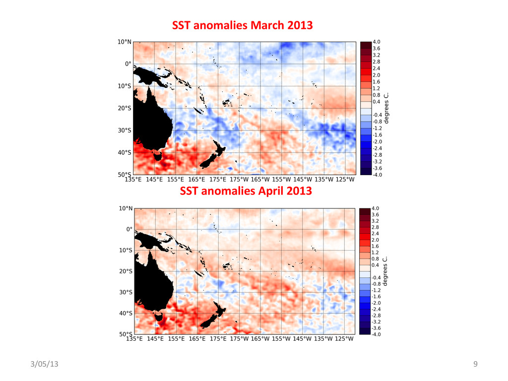 SST anomalies March 2013  SST an...