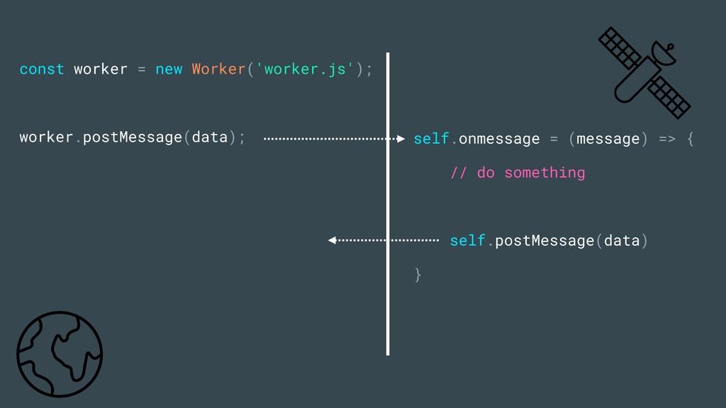const worker = new Worker('worker.js'); worker....