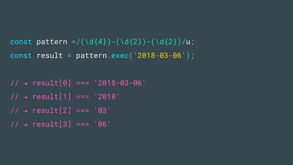 const pattern =/(\d{4})-(\d{2})-(\d{2})/u; cons...