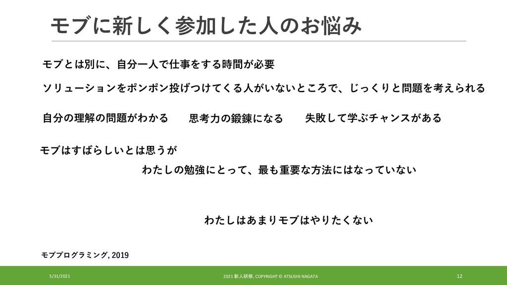 モブに新しく参加した人のお悩み 5/31/2021 2021 新人研修, COPYRIGHT ...