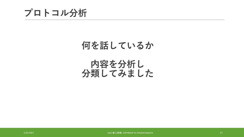プロトコル分析 5/31/2021 2021 新人研修, COPYRIGHT © ATSUSH...