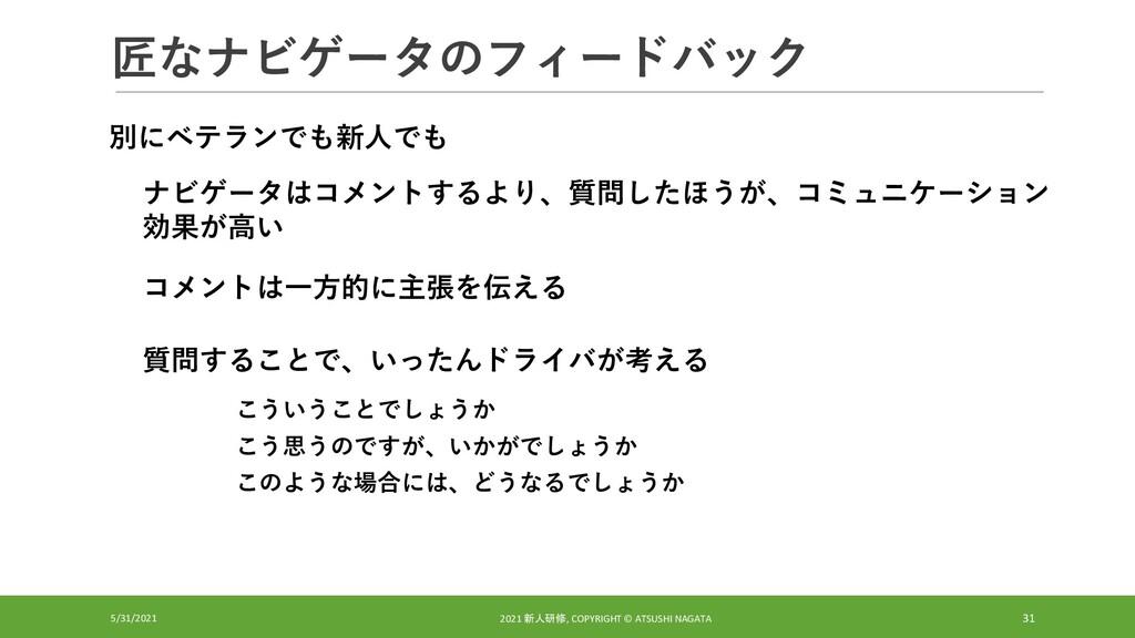 匠なナビゲータのフィードバック 5/31/2021 2021 新人研修, COPYRIGHT ...