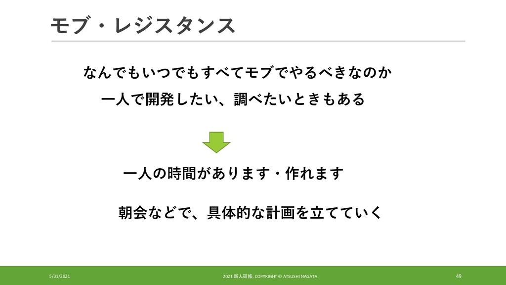 モブ・レジスタンス 5/31/2021 2021 新人研修, COPYRIGHT © ATSU...